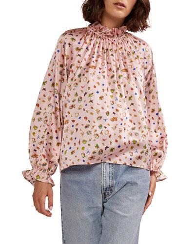 Penny Ruffle-Sleeve Stretch Silk Blouse