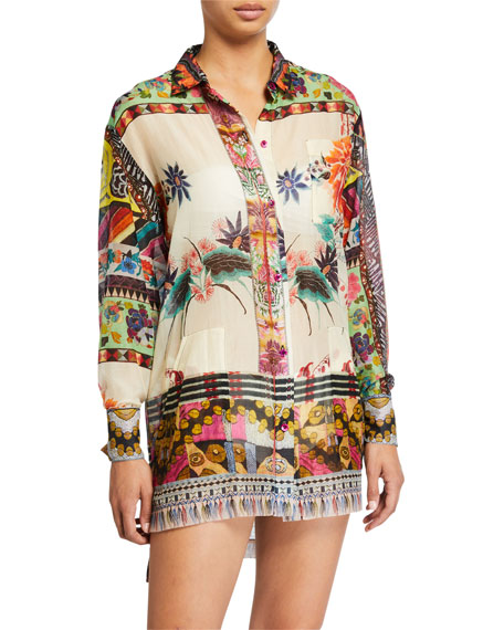 Etro Patchwork Button Front Shirt with Pockets