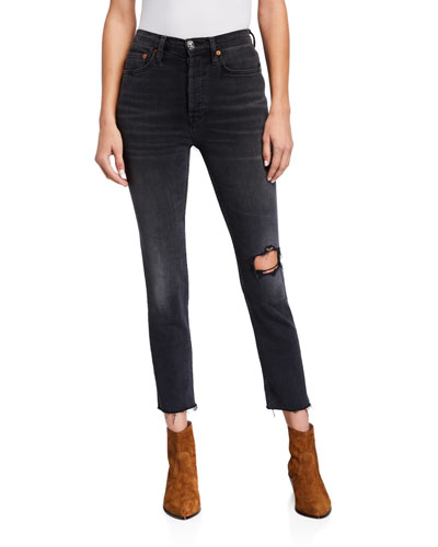 Distressed High-Rise Ankle Crop Skinny Jeans