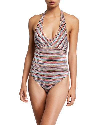 Striped Halter One-Piece Swimsuit