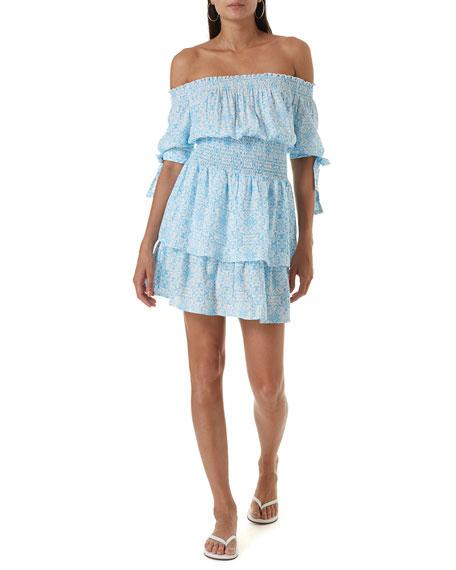 Melissa Odabash Camilla Printed Off-Shoulder Coverup Dress