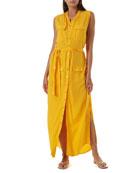 Melissa Odabash Charlene Sleeveless Button-Front Dress
