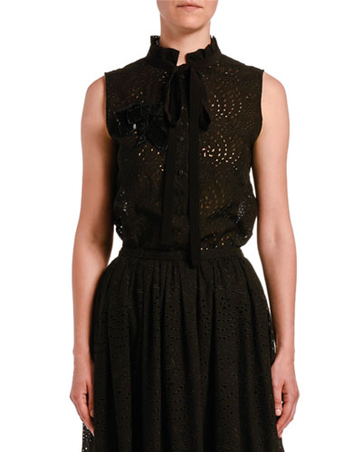 Sleeveless Eyelet Shirt