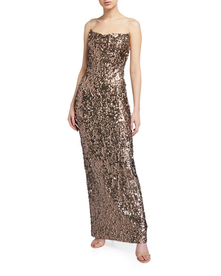 WAYF The Amy Cowl-Neck Sequin Dress