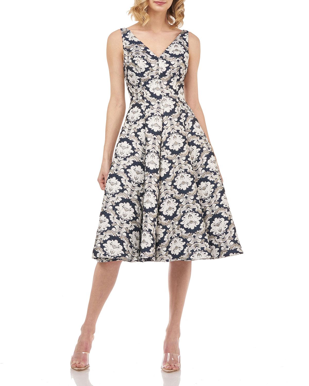 Gia Sleeveless Printed Jacquard Dress