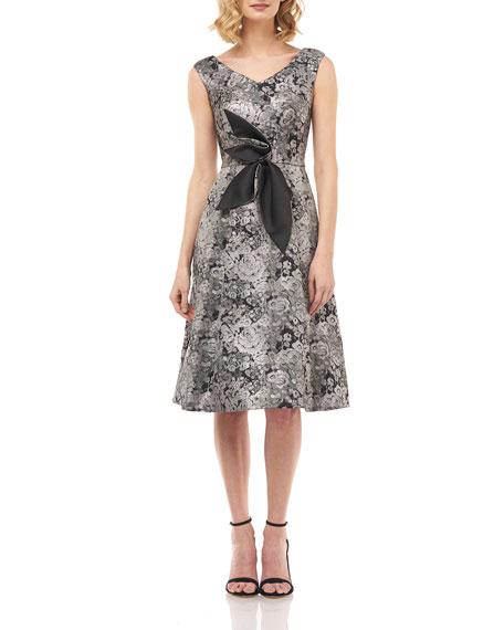 Kay Unger New York Chloe Floral Jacquard V-Neck Sleeveless Dress w/ 3D Flower