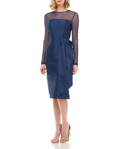 Serafina Long-Sleeve Mikado Sheath Dress w/ 3D Fold-over Bow