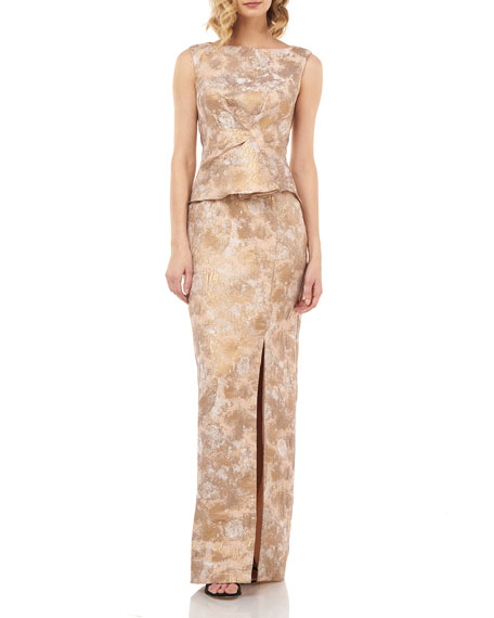 Kay Unger New York Yasmine Sleeveless Birds Of Paradise Jacquard Peplum Column Gown