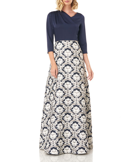 Kay Unger New York Izabella 3/4-Sleeve Jacquard Ball Gown w/ Stretch Faille Bodice