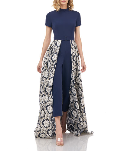 Donatella Stretch Crepe Belted Jumpsuit w/ Jacquard Overlay Skirt