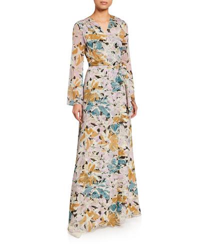 Sharon Long-Sleeve Floral Silk Wrap Dress