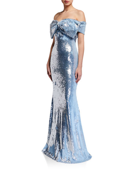 Badgley Mischka Collection Sequin Bow Bustier Mermaid Gown