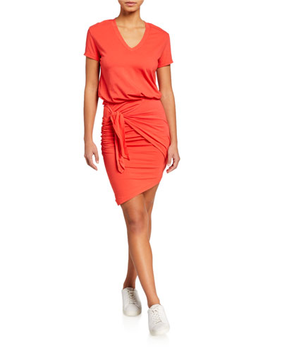 Tie-Waist V-Neck Tee Dress