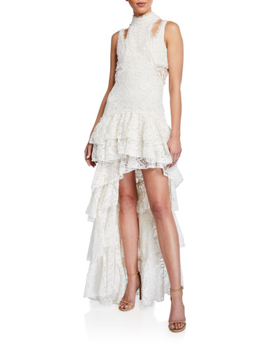 Varenna Tiered Lace High-Low Dress w/ Removable Skirt