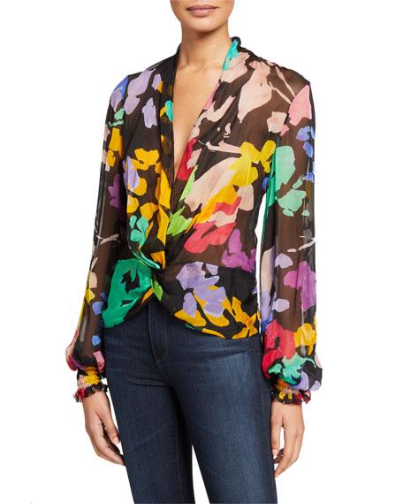 Caroline Constas Bette Printed Twist-Front Long-Sleeve Sheer Blouse