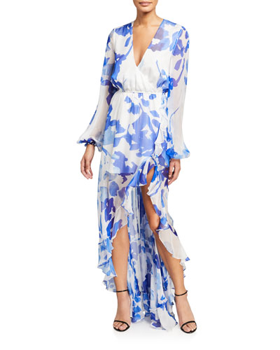 Liv Printed High-Low Ruffle Dress