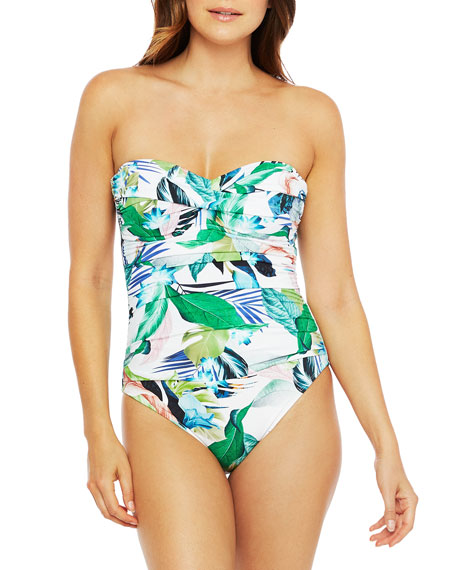 La Blanca Plus Size Printed Bandeau One-Piece Swimsuit