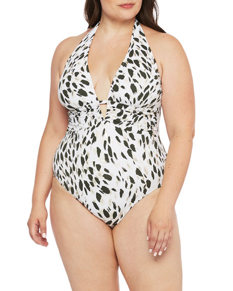 La Blanca Plus Size Printed Plunging Halter One-Piece Swimsuit