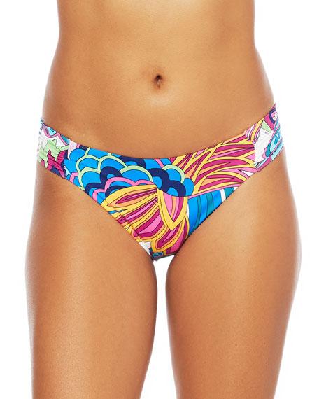 Trina Turk Paradise Plume Shirred Side Bikini Bottom