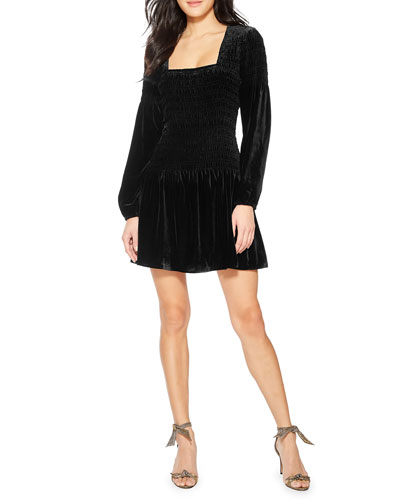 Tiara Smocked Velvet Cocktail Dress