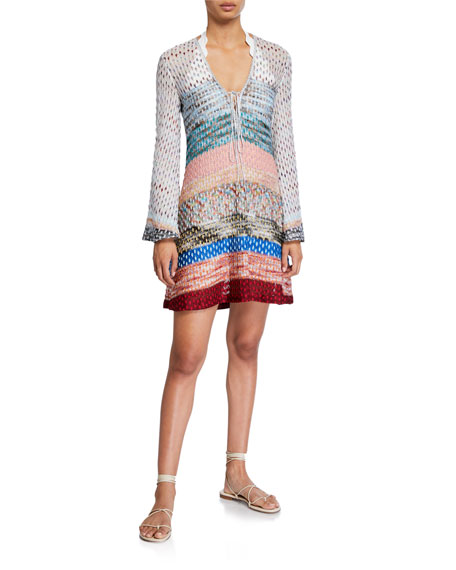 Missoni Mare Space-Dye Stripe Long-Sleeve Tunic Coverup