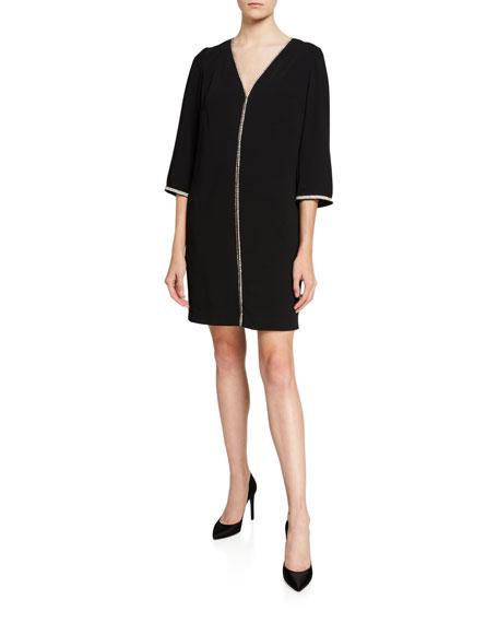 Trina Turk Midnight Carmel V-Neck 3/4-Sleeve Crepe Shift Dress