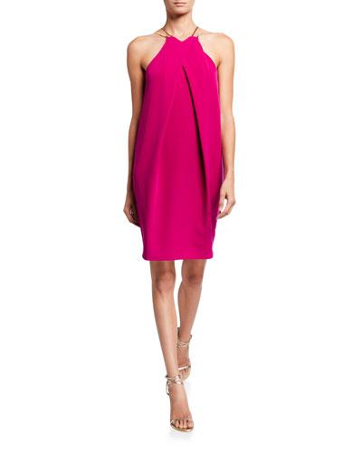 Bimyou Pleated Solid Smoothie Halter Dress w/ Metal Straps