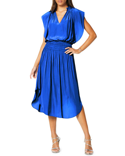 Wren Smocked V-Neck Midi Dress