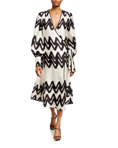 Maleko Zigzag Long-Sleeve Wrap Dress