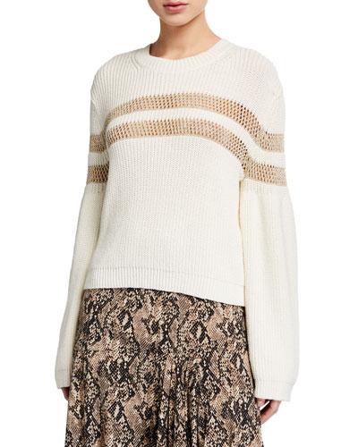 Georgiana Crewneck Open-Stitch Inset Sweater