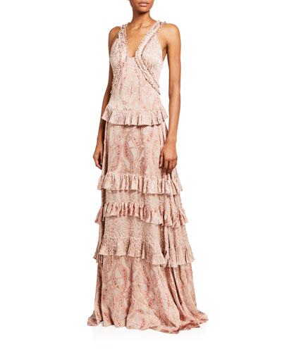 Rafaela Tiered Paisley Ruffle Gown