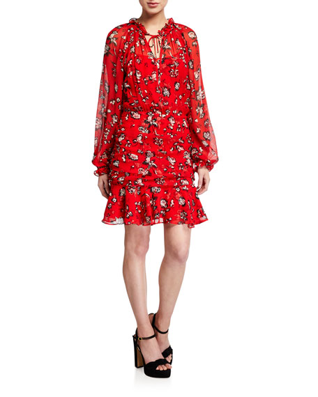 Veronica Beard Alena Long-Sleeve Floral Flounce Dress
