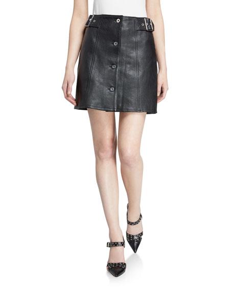 McQ Alexander McQueen Miyako Leather Button-Front Skirt