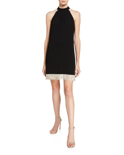 Top Shelf Carmel Crepe Halter Dress w/ Crystal Fringe Hem