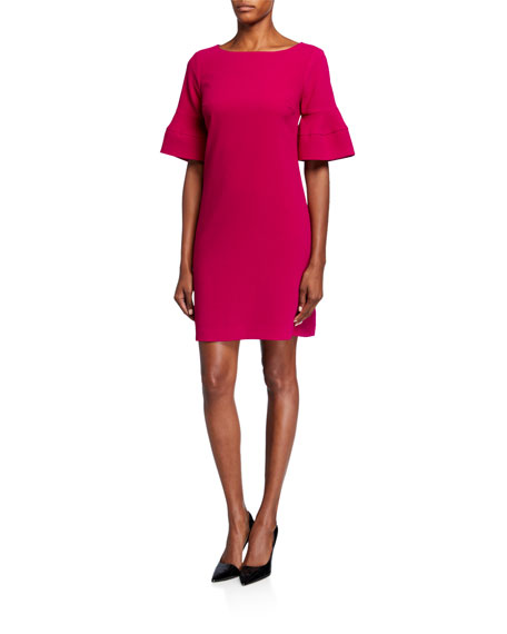 Trina Turk Sojourn Tiered Sleeve Crepe Shift Dress