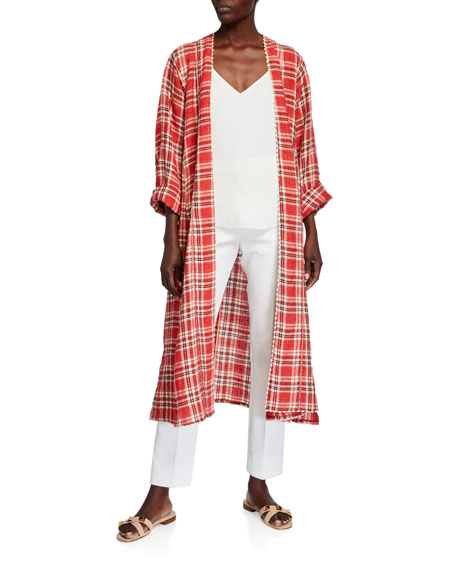 Forte Forte Tartan Plaid Linen-Cotton Duster Coat