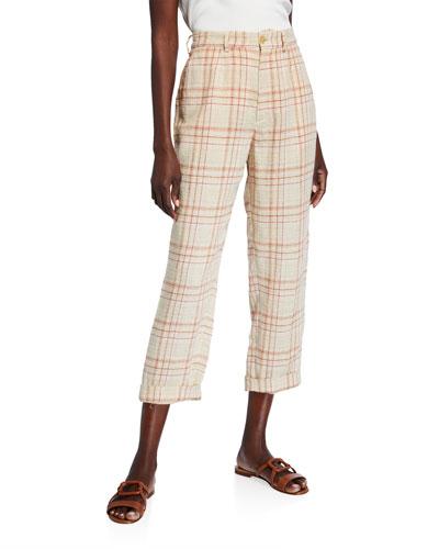 Tartan Plaid Linen-Cotton Cropped Pants