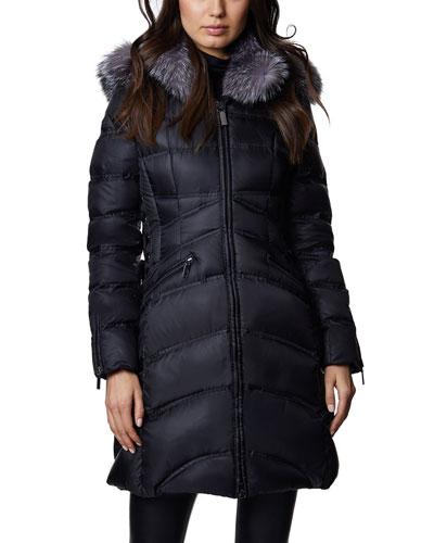 Cloe A-Line Fox Fur-Trim Puffer Coat