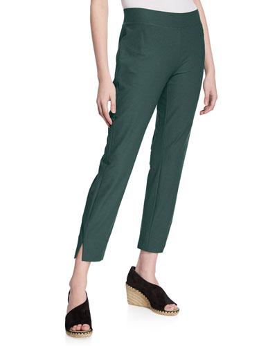 Washable Stretch-Crepe Side-Slit Ankle Pants