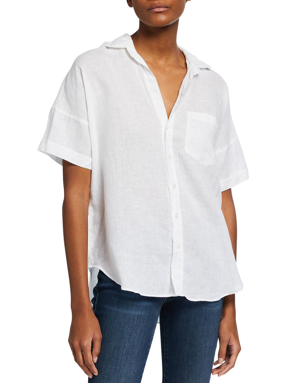 Short-Sleeve Button-Down Linen Shirt