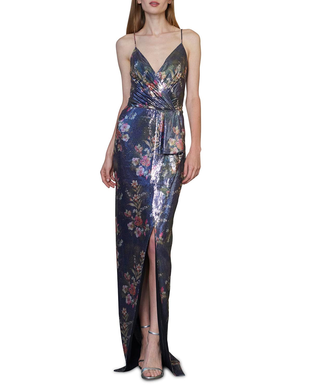 Sequin Sleeveless Faux-Wrap Column Gown