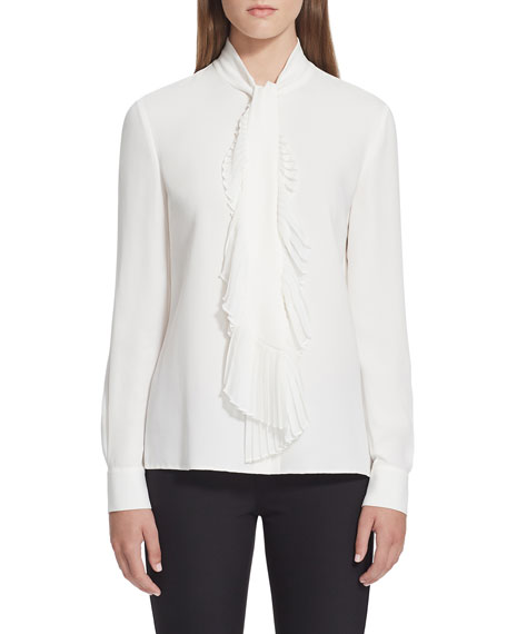 Lafayette 148 New York Bates Long-Sleeve Silk Blouse w/ Pleated Tie-Front