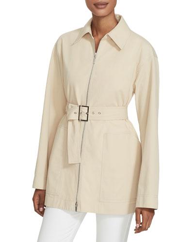 Allegra Zip-Front Belted Stretch Cotton Jacket