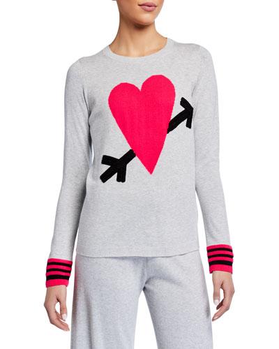 Petite Straight Arrow Cotton Sweater w/ Heart Intarsia