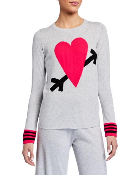 Lisa Todd Petite Straight Arrow Cotton Sweater w/ Heart Intarsia