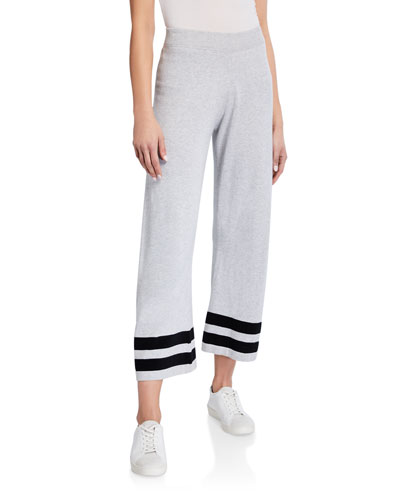 French Terry Striped-Hem Pull-On Ankle Pants