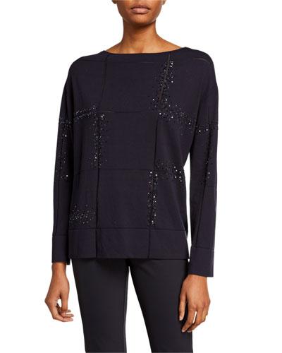 Plus Size Bateau-Neck Embellished Matte Crepe Sweater