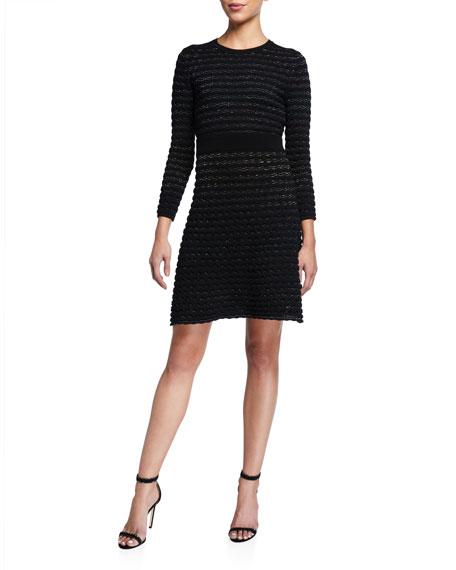 kate spade new york scallop shine long-sleeve sweater dress