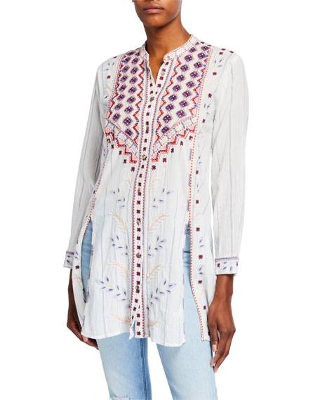 Johnny Was Petite Amarynth High-Slit Embroidered Front Tunic