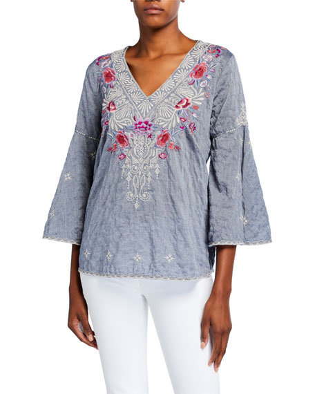 Caelynn V-Neck Swing-Sleeve Embroidered Top